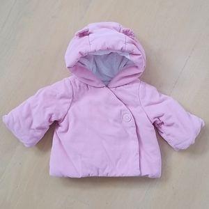 Baby Gap pink corduroy coat with bear ears 0-3 mos